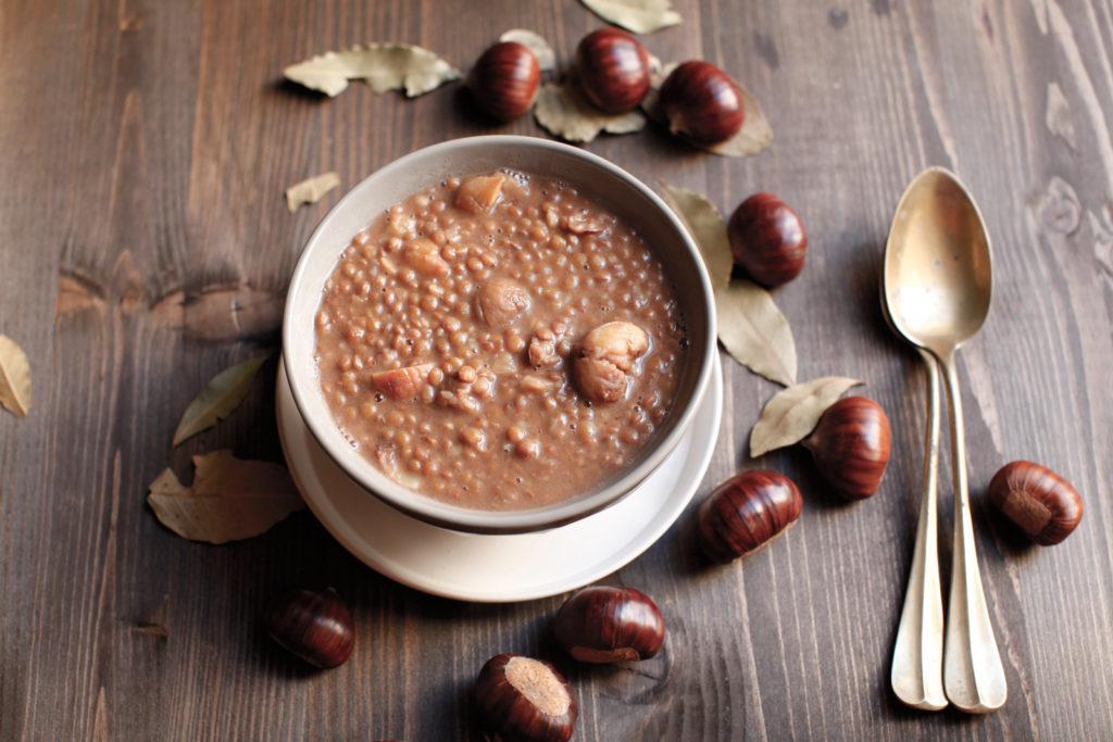 zuppa di lenticchie con castagne
