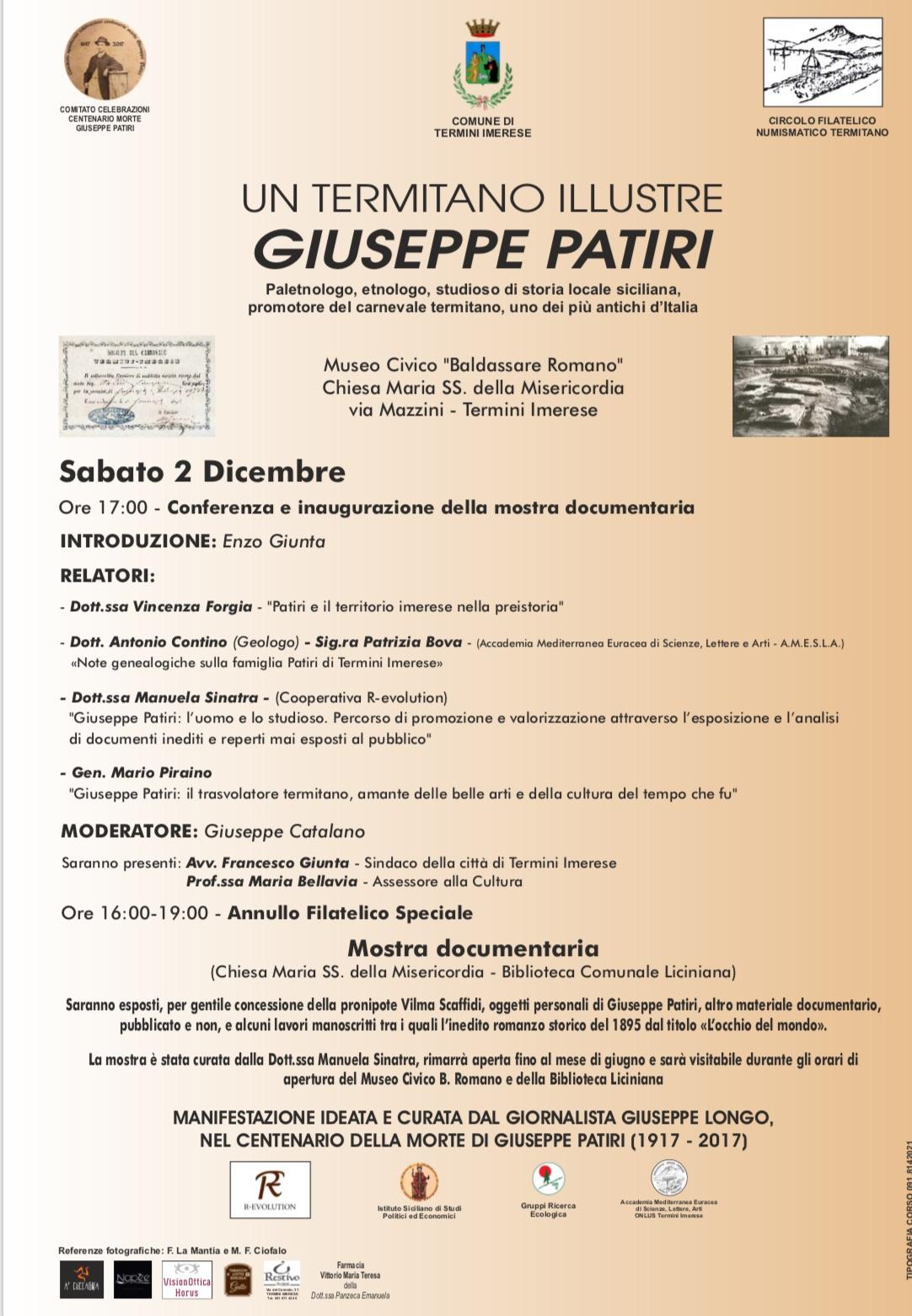 Centenario morte Giuseppe Patiri