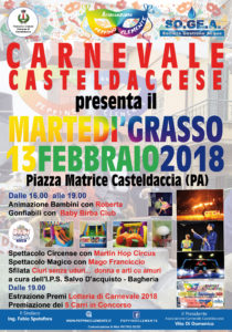 "Carnevale Casteldaccese, martedì 13 Febbraio il ""Martedì Grasso"""