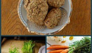 Biscotti con okara di carote e germogli di lenticchie