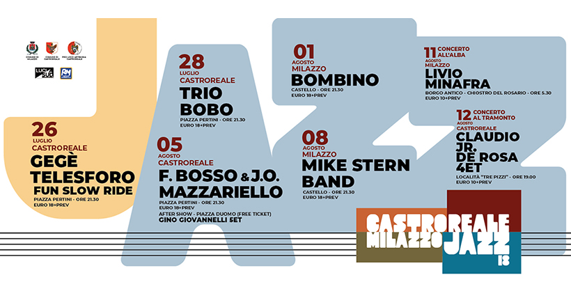 """La diciottesima stagione del Jazz Festival è stata inaugurata giovedì scorso con il trascinante concerto di Gege Telesforo a Castroreale. Mercoledì scorso la kermesse si è spostata a Milazzo, per tracciare il viaggio itinerante, che si rinnova per il terzo anno consecutivo, della buona musica attorno ai due dei centri storici più belli della costa tirrenica. Jazz Festival, """"Bombino"""" Al Jazz Festival, grande successo perl'esibizione di mercoledì 1 agosto al Castello di Milazzo di Bombino (Oumara Moctar). Il tuareg del Niger, che ha cantato – in lingua berbera, il tamasheq – il deserto sabbioso, l'identità e il viaggio, e che"""