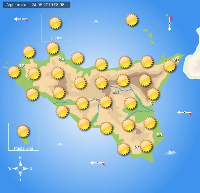 Meteo martedì 25 giugno in Sicilia
