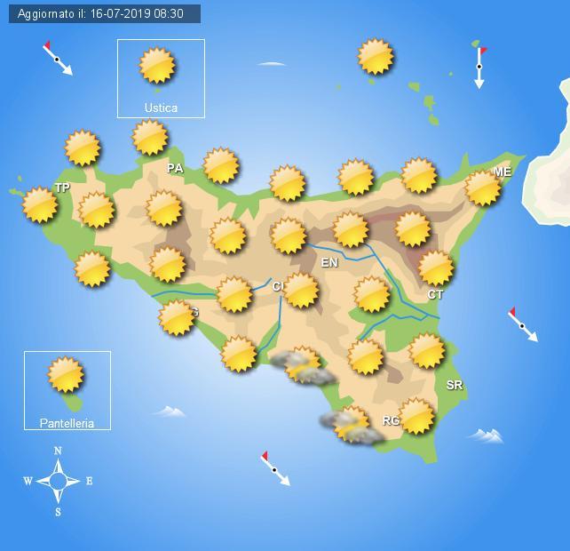 Meteo mercoledì 17 luglio Sicilia