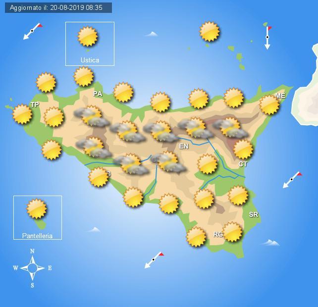 Meteo mercoledì 21 agosto Sicilia