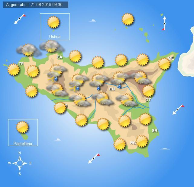 Meteo giovedì 22 agosto Sicilia