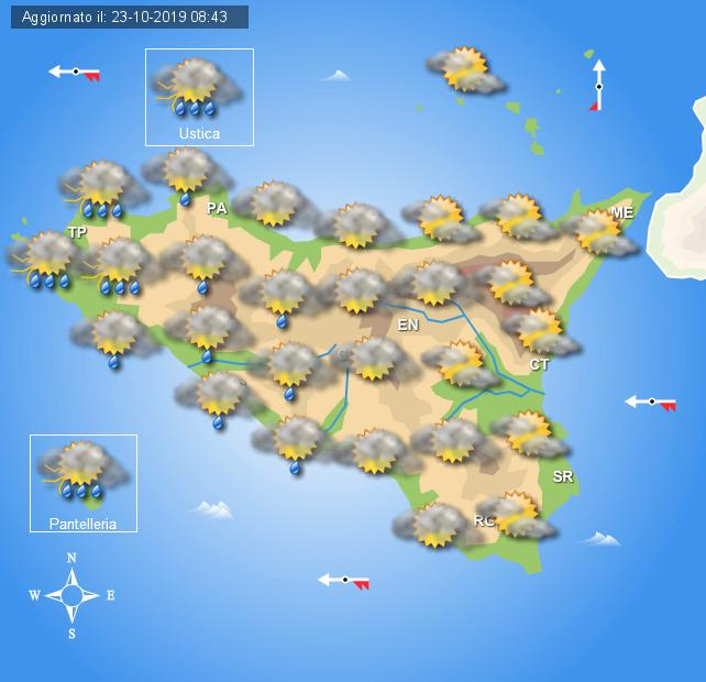 Meteo giovedì 24 ottobre Sicilia