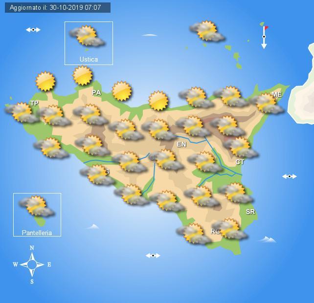 Meteo giovedì 31 ottobre Sicilia