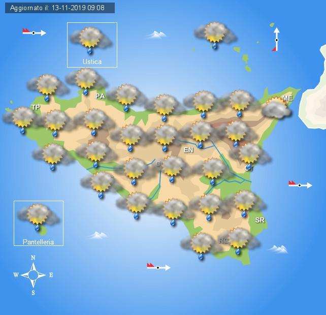 Meteo giovedì 14 novembre Sicilia