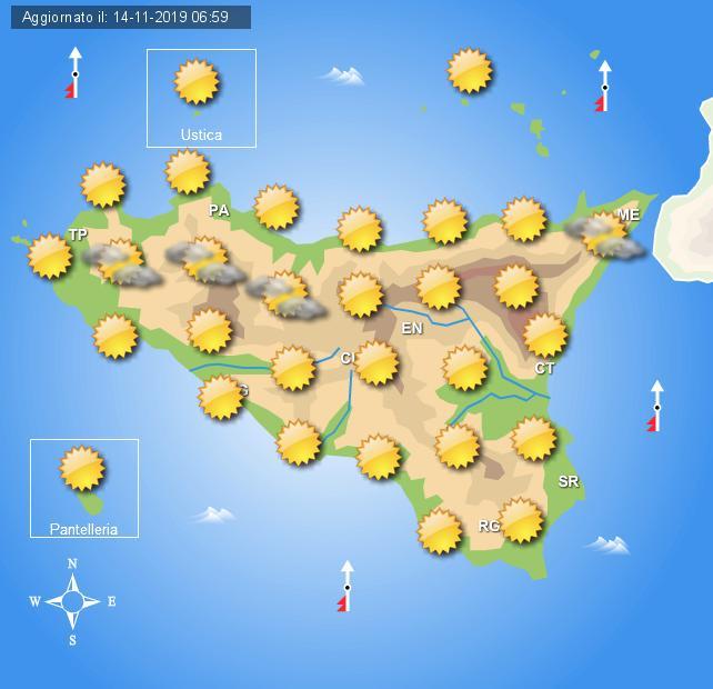 Meteo venerdì 15 novembre Sicilia