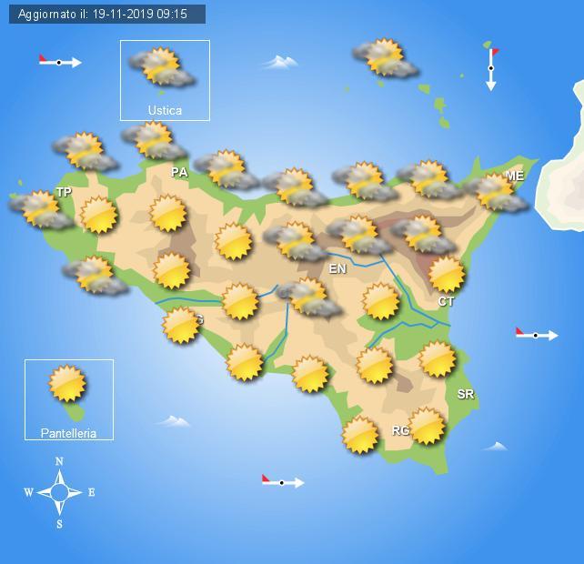 Meteo mercoledì 20 novembre Sicilia