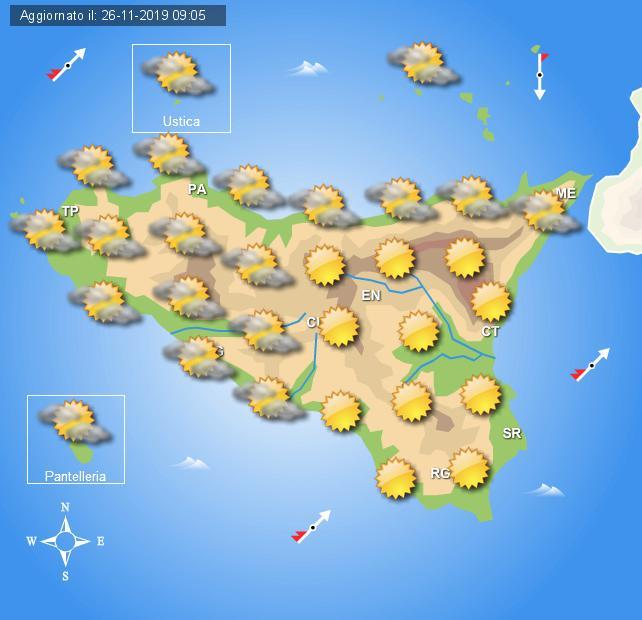 Meteo mercoledì 27 novembre Sicilia