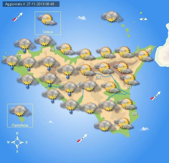 Meteo giovedì 28 novembre Sicilia