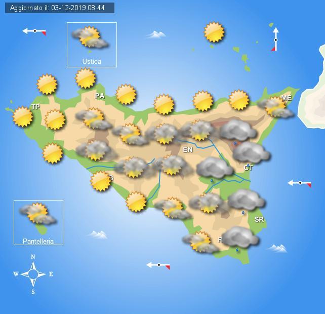 Meteo giovedì 5 dicembre Sicilia