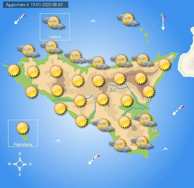 Meteo martedì 14 gennaio Sicilia