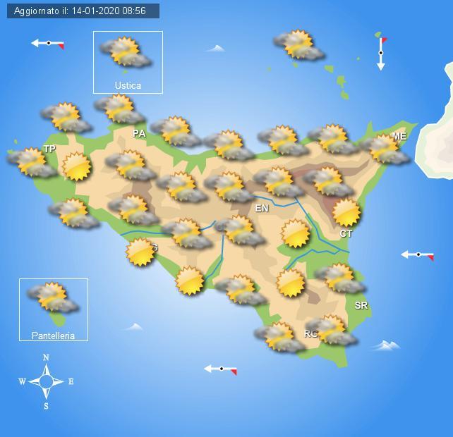 Meteo mercoledì 15 gennaio Sicilia