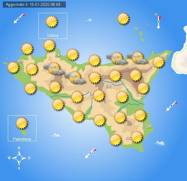 Meteo giovedì 16 gennaio Sicilia