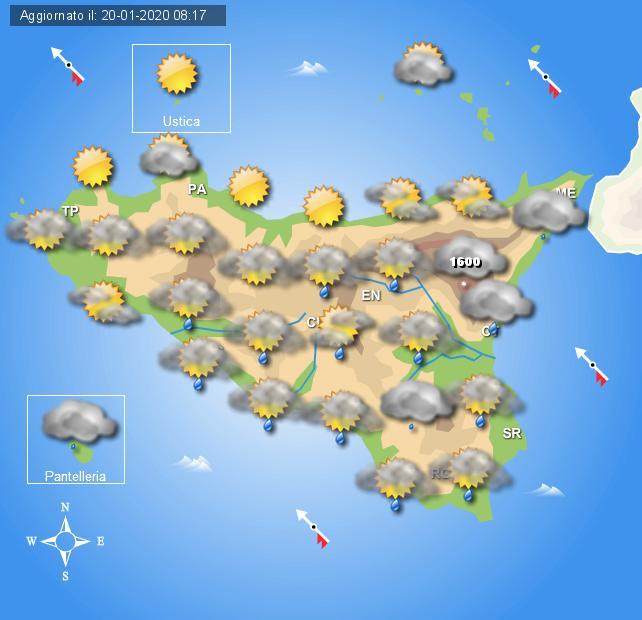 Meteo mercoledì 21 gennaio Sicilia