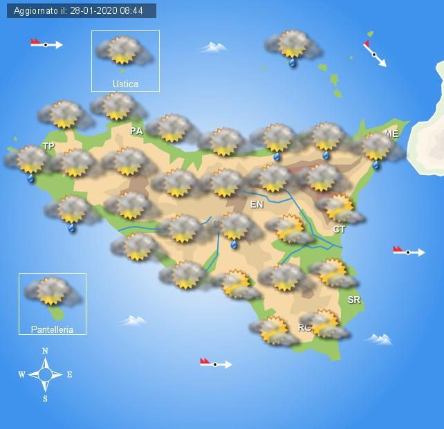 Meteo mercoledì 29 gennaio Sicilia