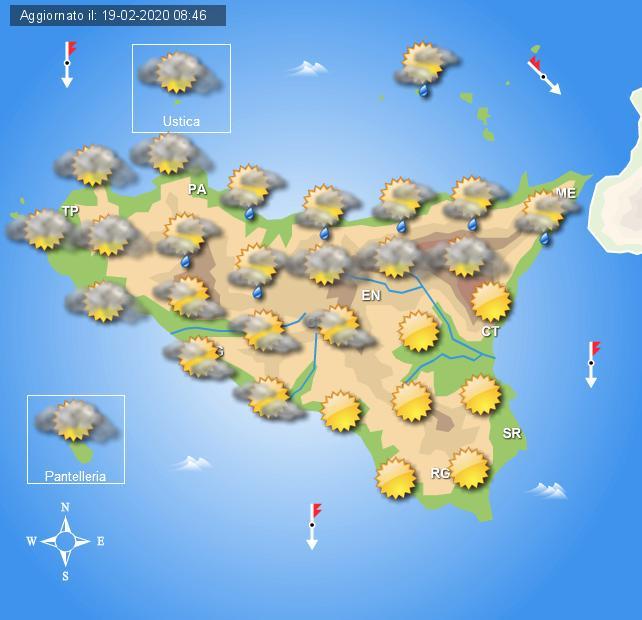 Meteo giovedì 20 febbraio Sicilia