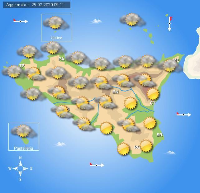 Meteo mercoledì 26 febbraio Sicilia