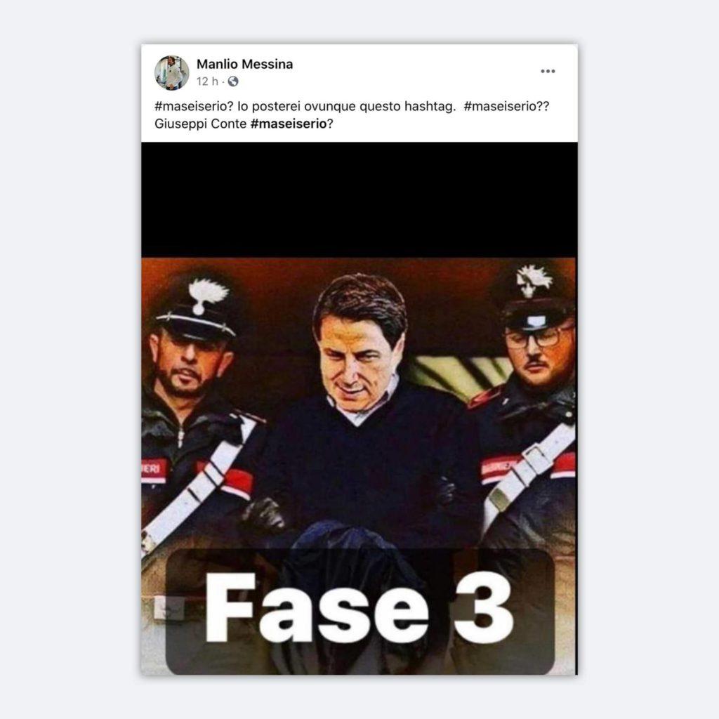 Post anti-Conte dell'Assessore Mattina
