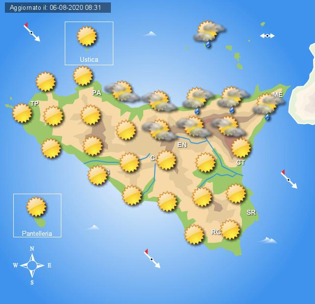 Meteo venerdì 7 agosto Sicilia