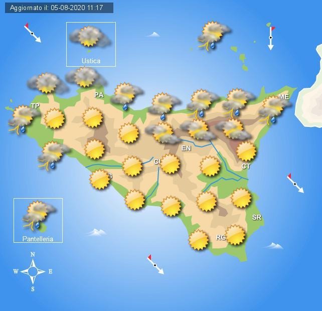 Meteo giovedì 6 agosto Sicilia