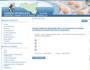 L'Azienda Villa Sofia-Cervello seleziona 40 operatori socio-sanitari