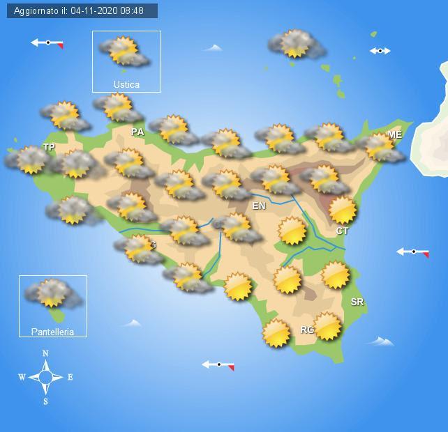 Meteo Sicilia di giovedì 5 novembre