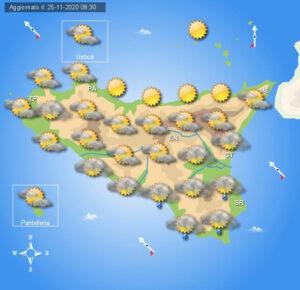 Meteo Sicilia di giovedì 26 novembre