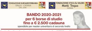 Bando per 6 borse di studio riservate a giovani studenti siciliani