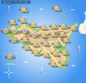 Meteo Sicilia di mercoledì 20 gennaio
