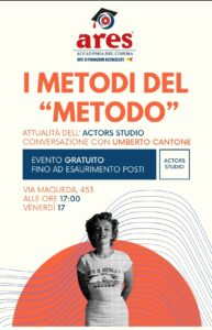 """""""I metodi del metodo', Attualità dell'Actors Studio"""": conversazione di Umberto Cantone"""