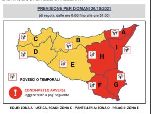 Allerta meteo arancione a Palermo e rossa nella Sicilia orientale